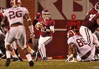 NWA Media/Michael Woods --10/11/2014-- w @NWAMICHAELW...University of Arkansas quarterback scrambles out of the pocket in the 4th quarter of Saturdays game at Razorback Stadium in Fayetteville.