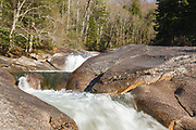 Franconia Falls on Franconia Brook in Lincoln, New Hampshire US during the spring months.