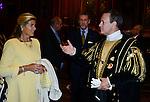 Princesse L&eacute;a de Belgique et Francis Huster apr&egrave;s  l&rsquo;&eacute;dition 2014 du spectacle historique de l&rsquo;Ommegang, a la Grand Place de Bruxelles.<br />  Belgique, Bruxelles, 03 juillet, 2014.