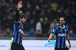 Andrea Ranocchia of Inter celebrates with team mate Diego Godin after scoring to give the side a 4-1 lead during the Coppa Italia match at Giuseppe Meazza, Milan. Picture date: 14th January 2020. Picture credit should read: Jonathan Moscrop/Sportimage
