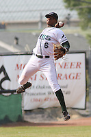 Tim Beckham of the Princeton Devil Rays making a leaping throw from shortstop during a game against the Greeneville Astros in an Appalachian League game at Hunnicutt Field in Princeton, WV on July 20, 2008