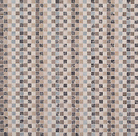 Flatweave, a hand-cut stone mosaic, shown in tumbled Allure, Driftwood, Cavern, Bianco Antico, Lagos Gold, and Botticino.