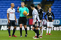 Bolton Wanderers' Karl Henry chats with referee Robert Jones<br /> <br /> Photographer Andrew Kearns/CameraSport<br /> <br /> The EFL Sky Bet Championship - Bolton Wanderers v Fulham - Saturday 10th February 2018 - Macron Stadium - Bolton<br /> <br /> World Copyright &copy; 2018 CameraSport. All rights reserved. 43 Linden Ave. Countesthorpe. Leicester. England. LE8 5PG - Tel: +44 (0) 116 277 4147 - admin@camerasport.com - www.camerasport.com