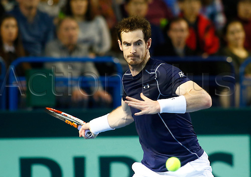06.03.2016. Barclaycard Arena, Birmingham, England. Davis Cup Tennis World Group First Round. Great Britain versus Japan. Great Britain's Andy Murray hits a forehand during his singles match against Japan's Kei Nishikori on day 3 of the tie.
