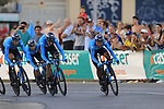 Movistar Team in action during Stage 1 of La Vuelta 2019, a team time trial running 13.4km from Salinas de Torrevieja to Torrevieja, Spain. 24th August 2019.<br /> Picture: Eoin Clarke | Cyclefile<br /> <br /> All photos usage must carry mandatory copyright credit (© Cyclefile | Eoin Clarke)