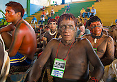 "Altamira, Brazil. ""Xingu Vivo Para Sempre"" protest meeting about the proposed Belo Monte hydroeletric dam and other dams on the Xingu river and its tributaries. Ikepeng cheif Karniva."