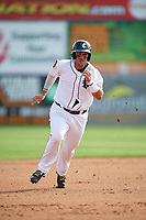 Connecticut Tigers designated hitter Gresuan Silverio (13) runs the bases during a game against the Lowell Spinners on August 26, 2018 at Dodd Stadium in Norwich, Connecticut.  Connecticut defeated Lowell 11-3.  (Mike Janes/Four Seam Images)