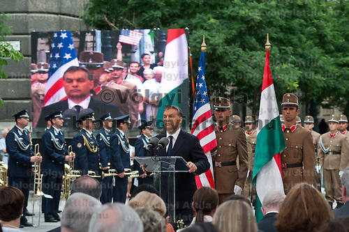 Viktor Orban (C) prime minister of Hungary delivers his speech during the inauguration of the new statue of Ronald Reagan on the square named Freedom in Budapest, Hungary. Wednesday, 29. June 2011. ATTILA VOLGYI