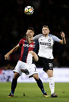 Calcio, Serie A: Bologna, stadio Renato Dall'Ara, 19 settembre 2017.<br /> Inter Milan's Skriniar Milan (r) in action with Bologna's Bruno Petkovic (l) during the Italian Serie A football match between Bologna and Inter Milan at Bologna's Renato Dall'Ara stadium, September 19, 2017.<br /> UPDATE IMAGES PRESS/Isabella Bonotto