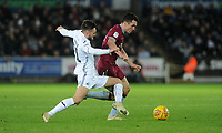 Aston Villa's John McGinn battles with Swansea City's Matt Grimes<br /> <br /> Photographer Ian Cook/CameraSport<br /> <br /> The EFL Sky Bet Championship - Swansea City v Aston Villa - Wednesday 26th December 2018 - Liberty Stadium - Swansea<br /> <br /> World Copyright © 2018 CameraSport. All rights reserved. 43 Linden Ave. Countesthorpe. Leicester. England. LE8 5PG - Tel: +44 (0) 116 277 4147 - admin@camerasport.com - www.camerasport.com