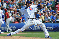 Chicago Cubs starting pitcher Matt Garza #22 delivers a pitch during a game against the Arizona Diamondbacks at Wrigley Field on July 15, 2012 in Chicago, Illinois. The Cubs defeated the Diamondbacks 3-1. (Tony Farlow/Four Seam Images).