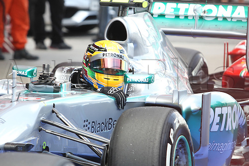 11.05.2013 Barcelona, Spain. Formula 1 Qualifying Session. Picture shows Lewis Hamilton after finish Q3 at circuit de Catalunya
