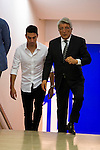 The president Enrique Cerezo and argentinian football player Nico Gaitan is present like new Atletico de Madrid's football player for the next season 2016-2017 at Vicente Calderon Stadium in Madrid. July 19, Spain. 2016. (ALTERPHOTOS/BorjaB.Hojas)