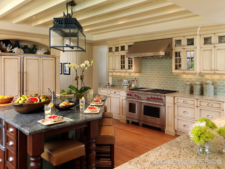 A Coastal Kitchen With Beachy Washed Wood Finished Cabinetry And Lantern  Lit Breakfast Island. Part 63
