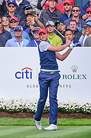 Daniel Berger (USA) watches his tee shot on 4 during round 3 Four-Ball of the 2017 President's Cup, Liberty National Golf Club, Jersey City, New Jersey, USA. 9/30/2017.<br /> Picture: Golffile | Ken Murray<br /> <br /> All photo usage must carry mandatory copyright credit (&copy; Golffile | Ken Murray)