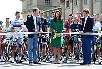 Picture by Alex Broadway/SWpix.com - 05/07/2014 - Cycling - Tour de France 2014 Grand Depart - Stage 1, Leeds to Harrogate - Yorkshire, England - The Duke & Duchess of Cambridge and Prince Harry at the start of the race at Harewood House. COPYRIGHT WARNING : THIS IMAGE IS RIGHTS MANAGED AND THE COPYRIGHT MAY SIT WITH A THIRD PARTY PLEASE CONTACT simon@swpix.com BEFORE DOWNLOAD AND OR USE