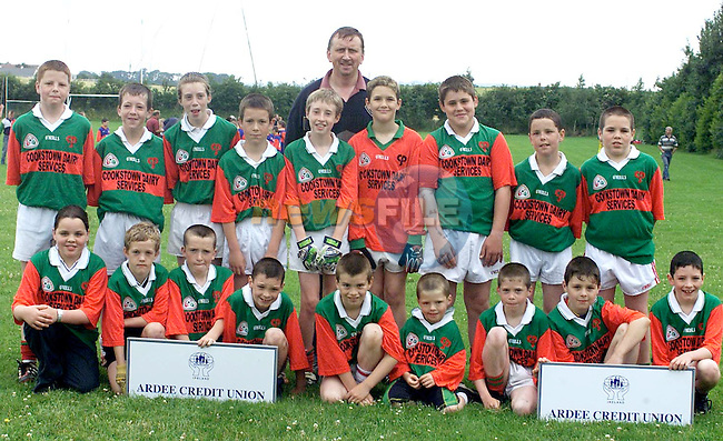 Ignatius Curran (Back) Manager with members of the Sean McDermott's team who took part in the Ardee Credit Union U/12 Blitz held in the Ardee St. Mary's GAA grounds. Included are (Front L-R) Karen Melia, Paul Flanagan, Daniel McEneaney, James Nulty, Lorcan Ludden, Owen McEneaney, Shane Osborne, Michael Baylon and Sean Nulty. (Back L-R) Sean McMahon, Laurence McEneaney, Brigid Osborne, Conor O'Neill, Conor Callaghan, Wayne Finlay, Peter Kelly, Kevin McMahon and Brian Melia.