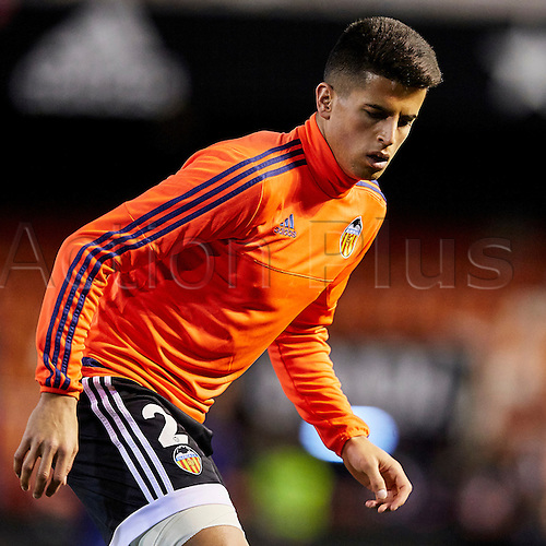 06.03.2016. Mestalla Stadium, Valencia, Spain. La Liga match between Valencia versus Atletico Madrid. Defender Joao Cancelo of Valencia CF warms up prior to the game