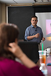 Dr. Adam Jones, assistant professor in CIS, lectures about Undergraduate Research in Data Science.  Photo by Kevin Bain/University Communications Photography.