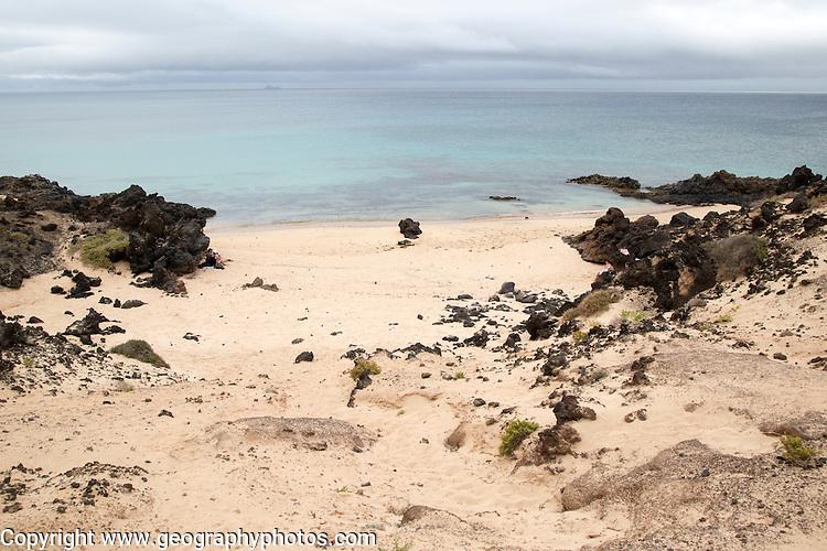 Small sandy bay beach, east coast Graciosa island looking north, Lanzarote, Canary Islands, Spain