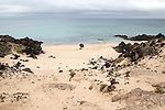 Small sandy bay beach, east coast Graciosa island looking north, Lanzarote, Canary Islands, Spain