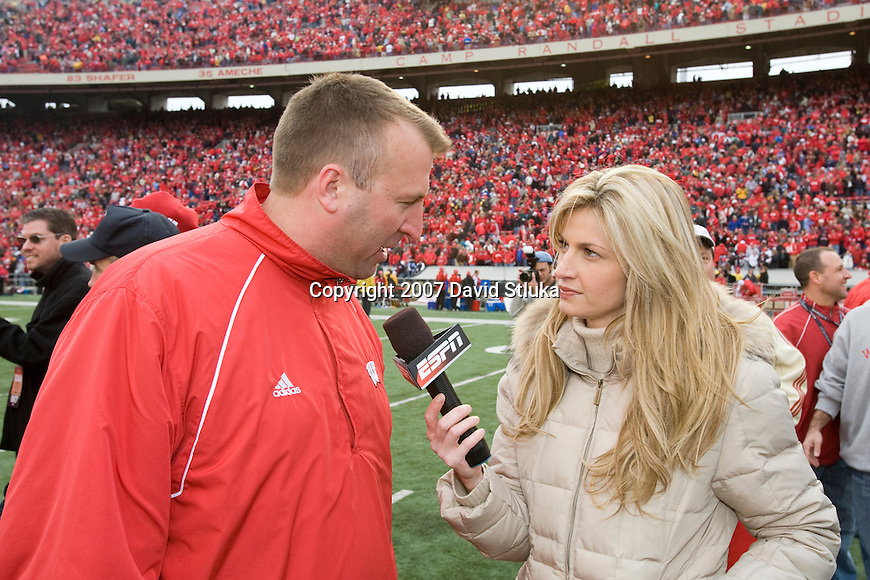 MADISON, WI - NOVEMBER 10: ESPN reporter Erin Andrews interviews interviews head coach Bret Bielema after the game against the Michigan Wolverines at Camp Randall Stadium on November 10, 2007 in Madison, Wisconsin. The Badgers beat the Wolverines 37-21. (Photo by David Stluka)