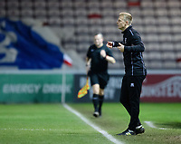 Lincoln City U18's professional development phase lead Tom Shaw shouts instructions to his team from the technical area<br /> <br /> Photographer Chris Vaughan/CameraSport<br /> <br /> The FA Youth Cup Second Round - Lincoln City U18 v South Shields U18 - Tuesday 13th November 2018 - Sincil Bank - Lincoln<br />  <br /> World Copyright © 2018 CameraSport. All rights reserved. 43 Linden Ave. Countesthorpe. Leicester. England. LE8 5PG - Tel: +44 (0) 116 277 4147 - admin@camerasport.com - www.camerasport.com