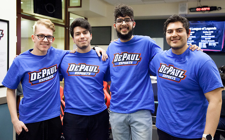 The DePaul eSports Rocket League team, left to right, Linas Savickas, Esteban Perez, Ravi Dhebar, and Alejandro Vicuna, gathers for the BIG EAST eSports Invitational, Saturday, April 7, 2018, and Sunday, April 8, at DePaul's new gaming center on the Loop Campus. The teams played both Rocket League and League of Legends in the tournament this past weekend. Captain of the Rocket League team, Esteban Perez, was present, guiding his team to victories against Butler University, Xavier University and Marquette University. (Photo by Katie Donovan/DePaul University)