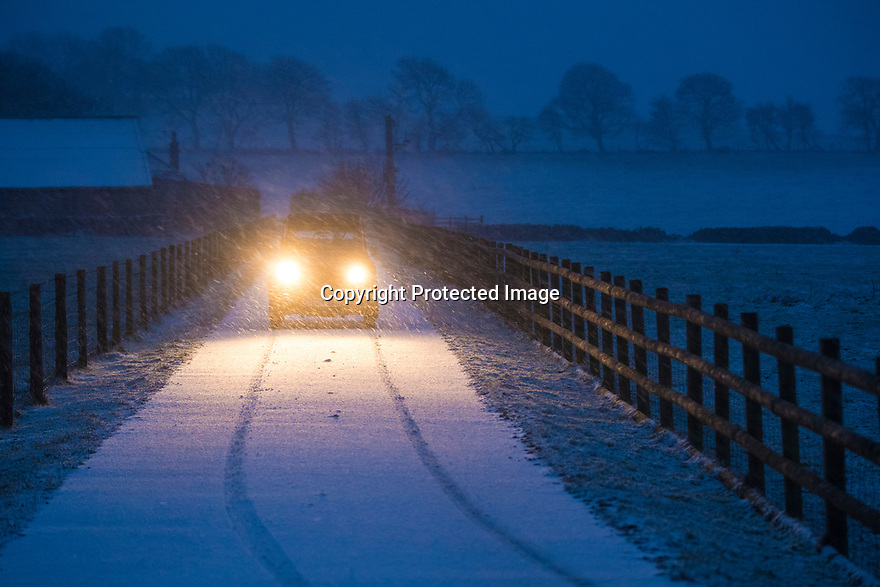 18/01/19<br /> <br /> A classic Citroen 2CV slithers along a country lane near Newhaven in the Peak District after heavy snowfall hits Derbyshire this evening. <br /> <br /> All Rights Reserved, F Stop Press Ltd +44 (0)7765 242650  www.fstoppress.com rod@fstoppress.com