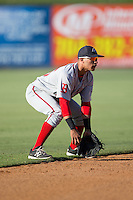 Greenville Drive shortstop Jeremy Rivera (35) on defense against the Kannapolis Intimidators at Intimidators Stadium on June 7, 2016 in Kannapolis, North Carolina.  The Drive defeated the Intimidators 4-1 in game one of a double header.  (Brian Westerholt/Four Seam Images)