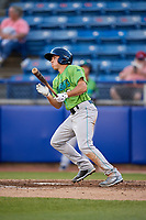 Lynchburg Hillcats left fielder Jodd Carter (7) hits a home run during a game against the Salem Red Sox on May 10, 2018 at Haley Toyota Field in Salem, Virginia.  Lynchburg defeated Salem 11-5.  (Mike Janes/Four Seam Images)