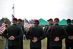 August 26, 2007. Kinston, NC.. A funeral for  Spc. Steven R. Jewell was held at the Pine Lawn Memorial Park in Kinston, NC. Spc. Jewell was killed in a helicopter crash near the Iraqi city of Fallujah on August 14, 2007.. Members of the honor guard stand at attention.