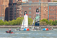 America's Cup World Series teams France and UK catamarans race on the Hudson River course near Brookfield Place.