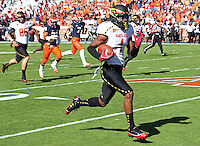 Maryland Terrapins wide receiver Stefon Diggs (1) returns the opening kickoff for a touchdown against Virginia at Scott Stadium in Charlottesville, VA. Maryland defeated Virginia 27-20.