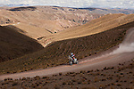 Motorcycle rider Kevin Benavides from Argentina riding his Honda bike during the 5th stage of the Dakar Rally 2016 in the Bolivian Altiplano.