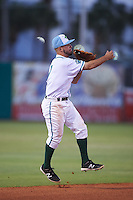 Daytona Tortugas shortstop Blake Trahan (7) throws to first during a game against the Fort Myers Miracle on April 17, 2016 at Jackie Robinson Ballpark in Daytona, Florida.  Fort Myers defeated Daytona 9-0.  (Mike Janes/Four Seam Images)