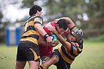 Corey Tewhata-Colley and Matiaha Martin combine to tackle Tautalafua Mataafa. Counties Manukau Premier Club Rugby game between Bombay and Karaka, played at Bombay, on Saturday March 15 2014. Karaka won the game 39 - 12 after leading 13 - 5 at halftime.  Photo by Richard Spranger