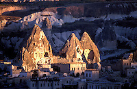 Goreme, Cappadocia, Nevsehir, Turkey. The village of Goreme. Although toursim is upcoming, many people still live of their traditional livelyhood. they work the fields in the fairy chimney landscape of Cappadocia and the Goreme National Park. Photo by Frits Meyst / MeystPhoto.com