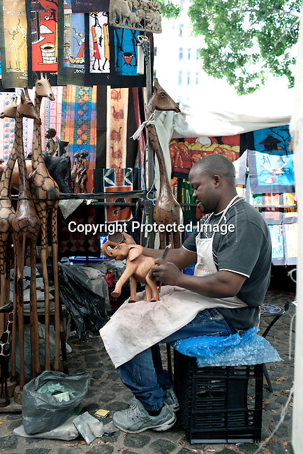 CAPE TOWN, SOUTH AFRICA - MARCH 21: Greenmarket Square market area on March 21, 2012 in Cape Town, South Africa (Photo by Per-Anders Pettersson For Le Monde)