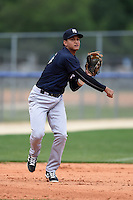 New York Yankees Allen Valerio (26) during practice before a minor league spring training game against the Toronto Blue Jays on March 24, 2015 at the Englebert Complex in Dunedin, Florida.  (Mike Janes/Four Seam Images)