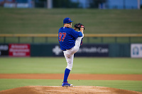 AZL Cubs starting pitcher Faustino Carrera (97) delivers a pitch to the plate against the AZL Padres 2 on August 28, 2017 at Sloan Park in Mesa, Arizona. AZL Cubs defeated the AZL Padres 2 9-4. (Zachary Lucy/Four Seam Images)