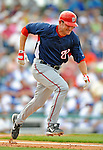 12 March 2008: Washington Nationals' infielder Matt Whitney hustles to first during a Spring Training game against the Los Angeles Dodgers at Holman Stadium, in Vero Beach, Florida. The Nationals defeated the Dodgers 10-4 at the historic Dodgertown ballpark. 2008 marks the final season of Spring Training at Dodgertown for the Dodgers, as the team will move to new training facilities in Arizona starting in 2009 after 60 years in Florida...Mandatory Photo Credit: Ed Wolfstein Photo