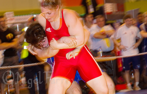 22 MAY 2010 - BIRMINGHAM, GBR - Sarah Connolly (red) v Chloe Spiteri (blue) - 2010 English Senior Wrestling Championships .(PHOTO (C) NIGEL FARROW)