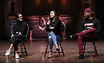 """Sabrina Imamura, Lauren Boyd and Bryan Terrell Clark attends the cast Q & A during The Rockefeller Foundation and The Gilder Lehrman Institute of American History sponsored High School student #EduHam matinee performance of """"Hamilton"""" at the Richard Rodgers Theatre on October 24, 2018 in New York City."""