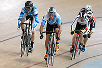 Antony Brown (L) and Peter Ash worth of Auckland John Scott of Southland compete in the Masters Men Cat 2 Keirin at the Age Group Track National Championships, Avantidrome, Home of Cycling, Cambridge, New Zealand, Saturday, March 18, 2017. Mandatory Credit: © Dianne Manson/CyclingNZ  **NO ARCHIVING**