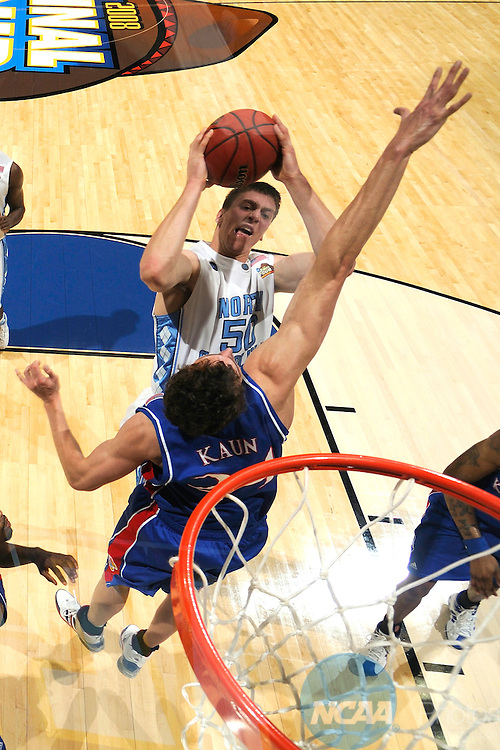 05 APR 2008: Tyler Hansbrough (50) of North Carolina goes to the hoop in front of Sasha Kaun (24) of Kansas during the semi final game of the Men's Final Four Basketball Tournament held in the Alamodome in San Antonio, TX. Kansas went on to defeat North Carolina 84-66 to advance to the Championship game. Photo: Rich Clarkson/NCAA Photos.