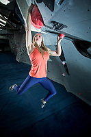 Shauna Coxsey trains at the Climbing Hangar, Liverpool, United Kingdom on January 19, 2016
