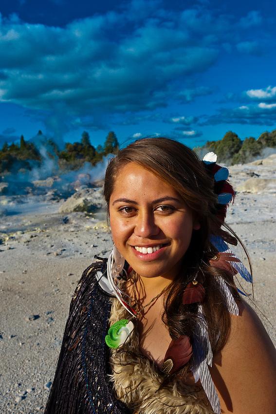 Women In Maori Culture: A Young Maori Woman (with The Pohutu Geyser Behind), Te