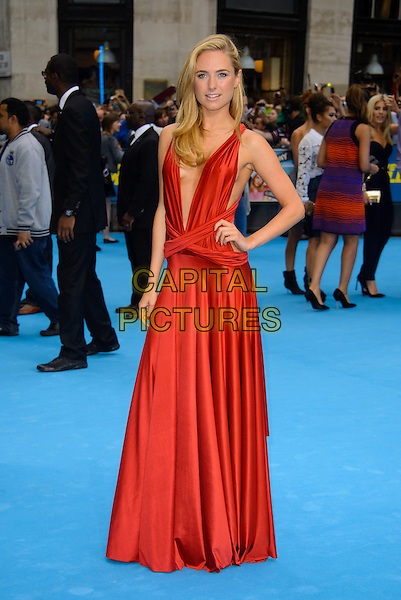 Kimberley Garner<br /> 'We're the Millers' European UK film premiere, Empire cinema, Leicester Square, London, England.<br /> 14th August 2013<br /> full length red dress silk satin plunging neckline cleavage hand on hip<br /> CAP/CJ<br /> &copy;Chris Joseph/Capital Pictures