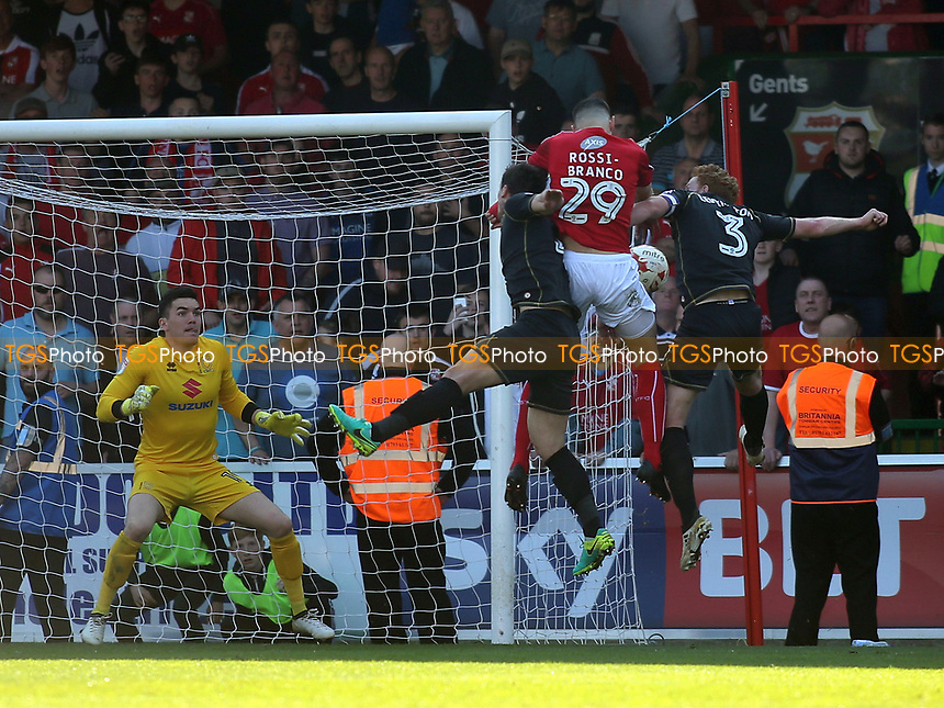 Swindon's Raphael Rossi-Branco heads the ball just wide of the MK Dons goal in the dying moments of the game to keep the scores at 1-1 during Swindon Town vs MK Dons, Sky Bet EFL League 1 Football at the County Ground on 8th April 2017